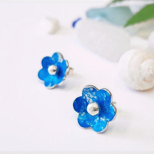 2 Way Flower Studs - Blue | Silver