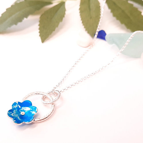 Blue Flower Pendant with Silver Hoop Detail