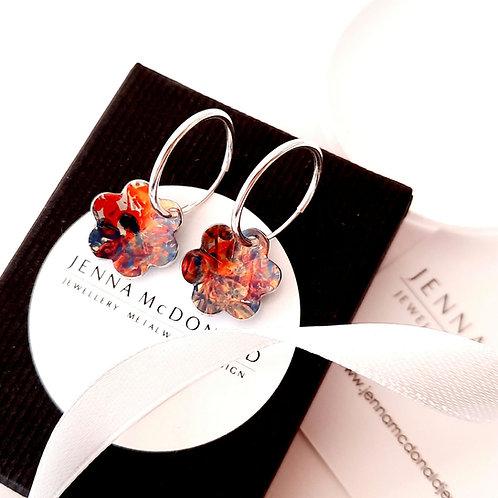 Flower Hoops - Teal | Red | Orange