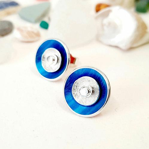 3 Way Circle Studs - Blue   Silver
