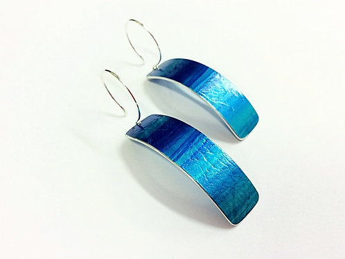 Azure Blue Textured Anodised Aluminium & Sterling Silver Earrings