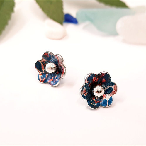 2 Way Flower Studs - Teal | Red