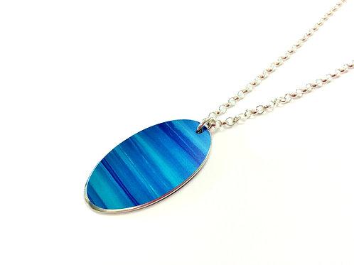 Azure Blue Anodised Aluminium Oval Pendant