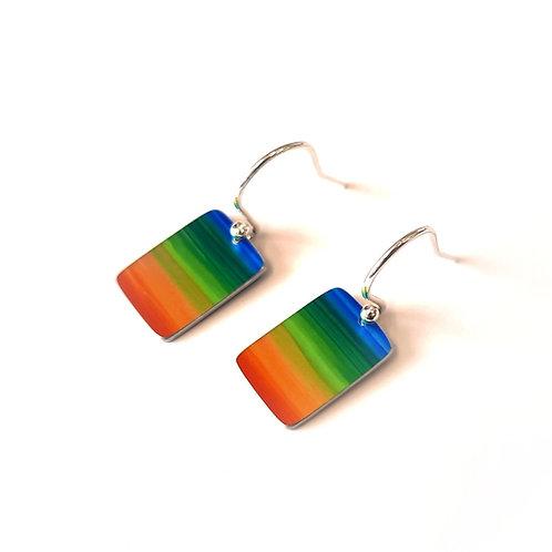 Rainbow Rectangle Earrings