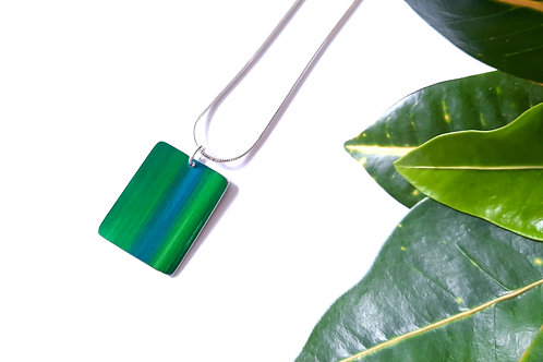 Green Anodised Aluminium Rectangle Pendant