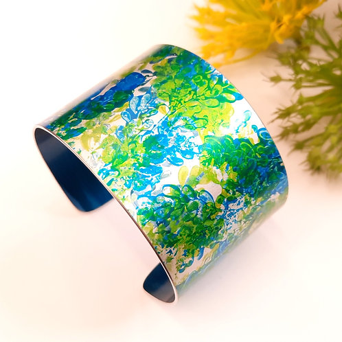 Patterned Cuff - Green   Blue With Engraved Quote