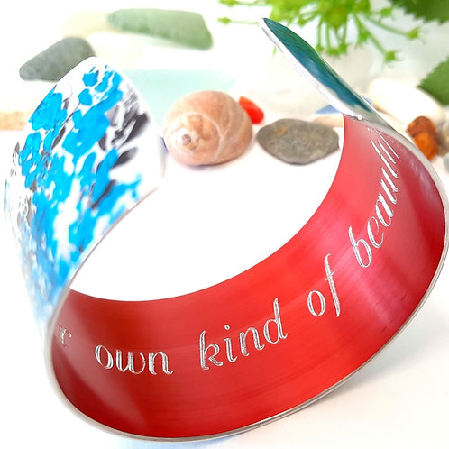 Patterned Cuff - Blue   Black With Engraved Quote