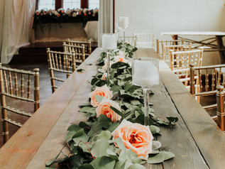 Old Trinity Event Table with Flowers