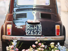 Old car with floral arrangements