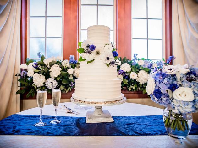 Blue and Cream Wedding Cake