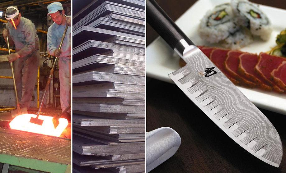 Collini Steel, acciaio giapponese, Takefu Steel, acciai laminati, san mai, clad steel, acciai speciali