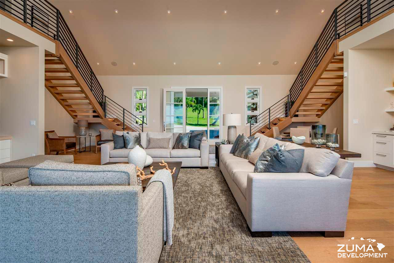 Great Room With Dual Staircases