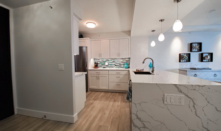 Quartz Counters with Waterfall Edge