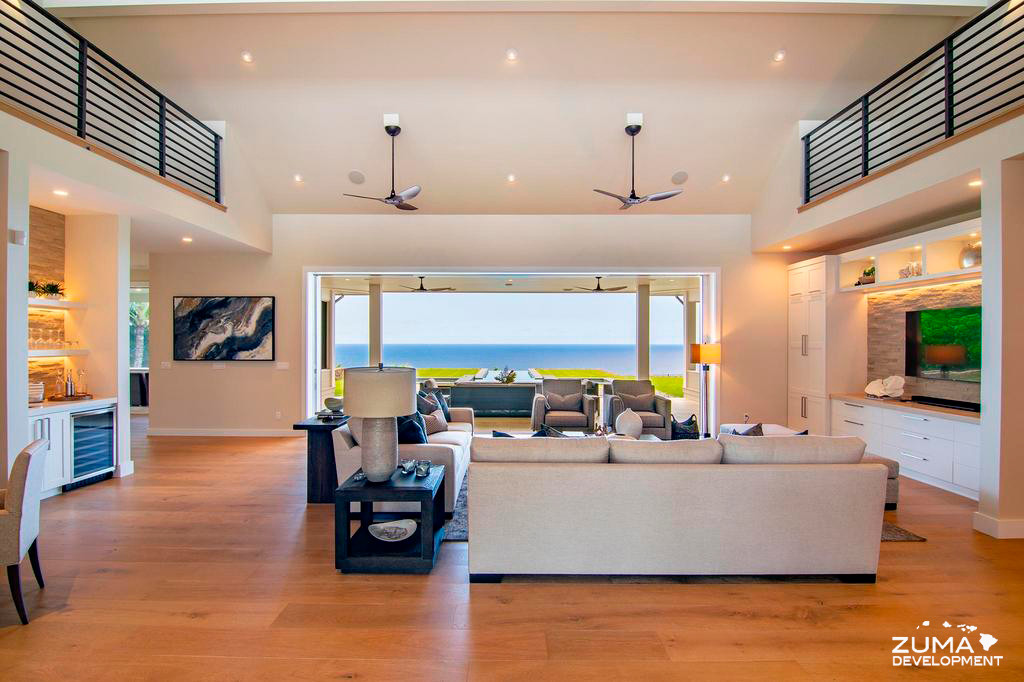 Great Room Looking to Pool and Beyond