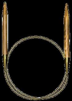 Спицы олива 40 см х 3 мм круговые на золотой лескеADDI