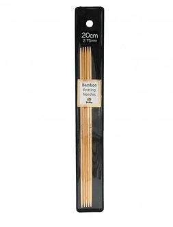 Спицы носочные 3 мм 20 см, бамбуковые
