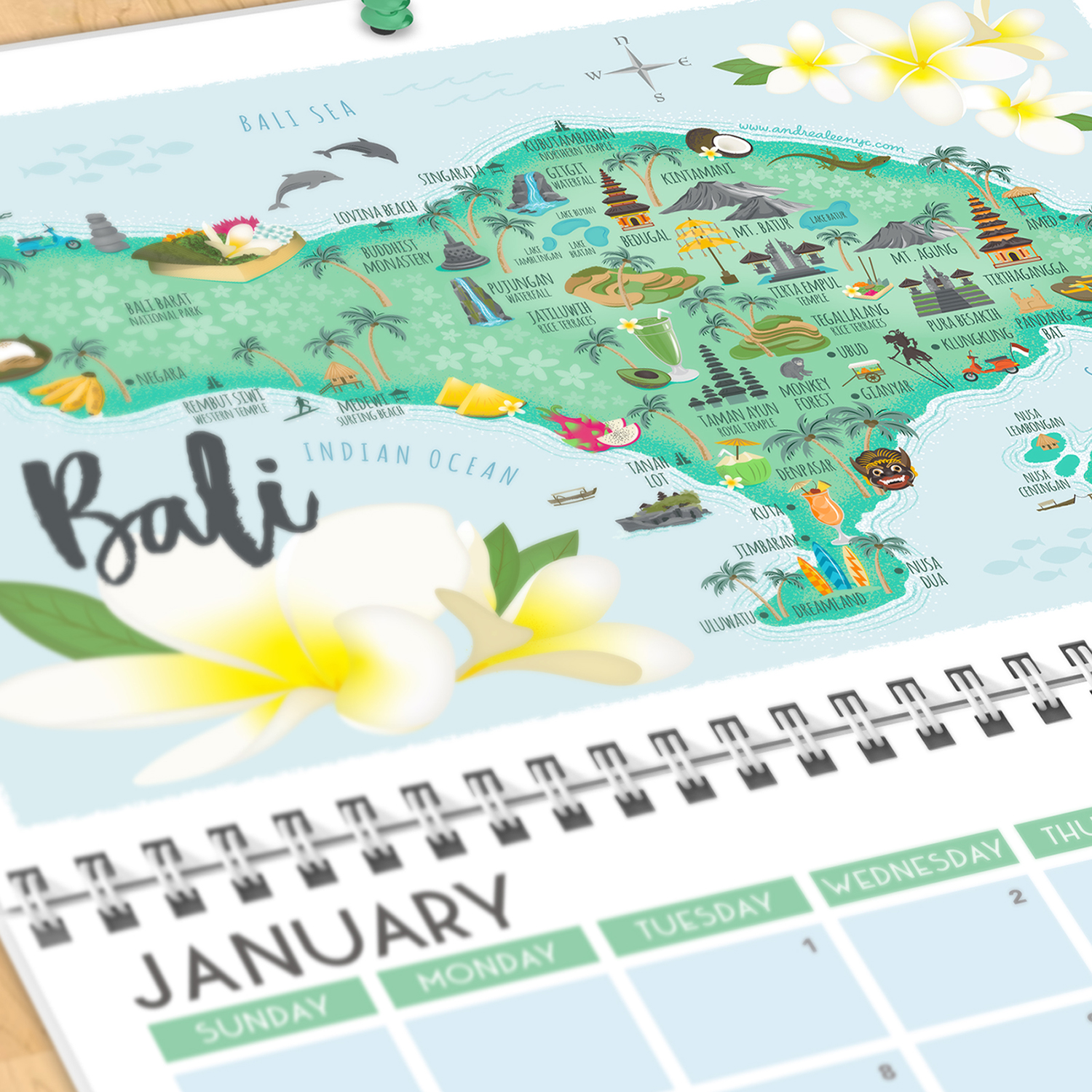 Bali illustrated map calendar