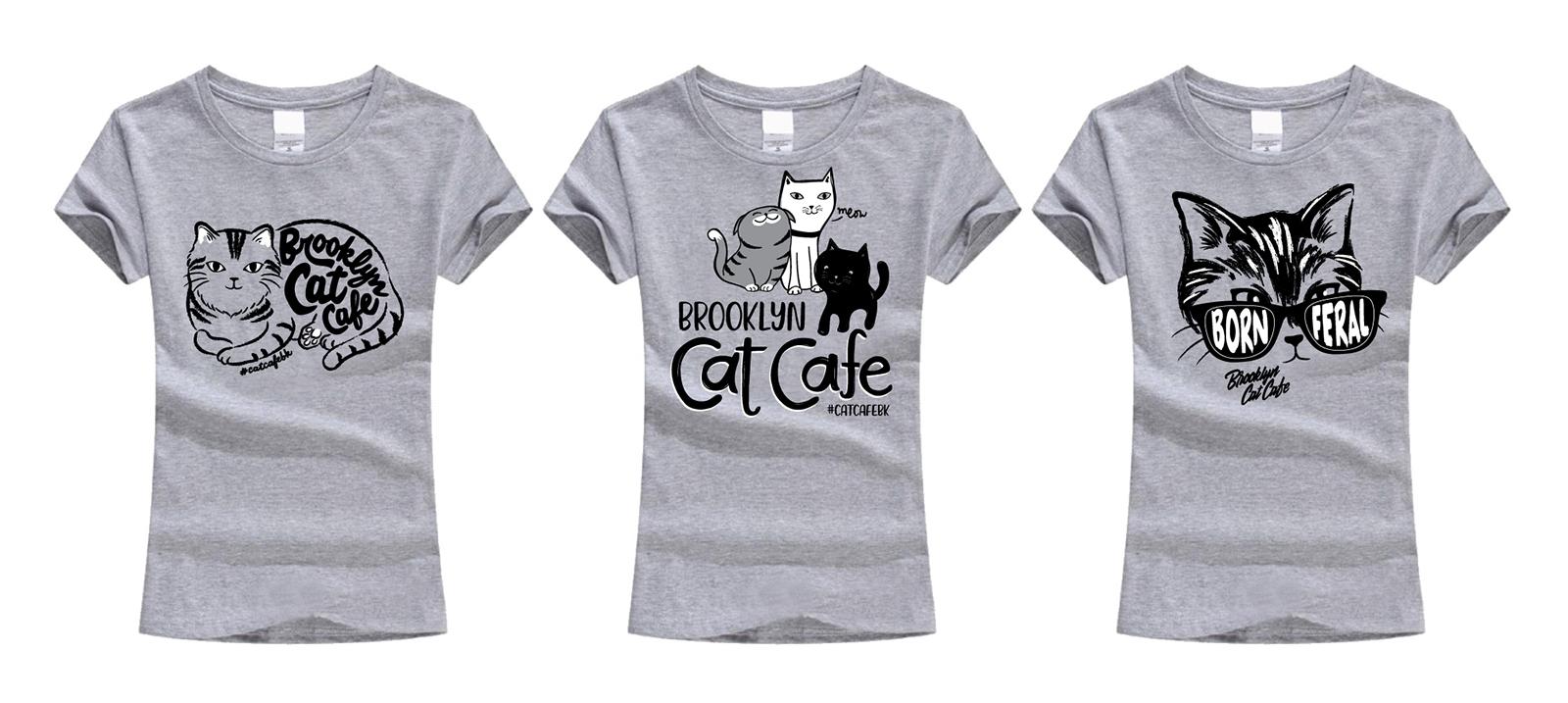 Brooklyn Cat Cafe tee designs