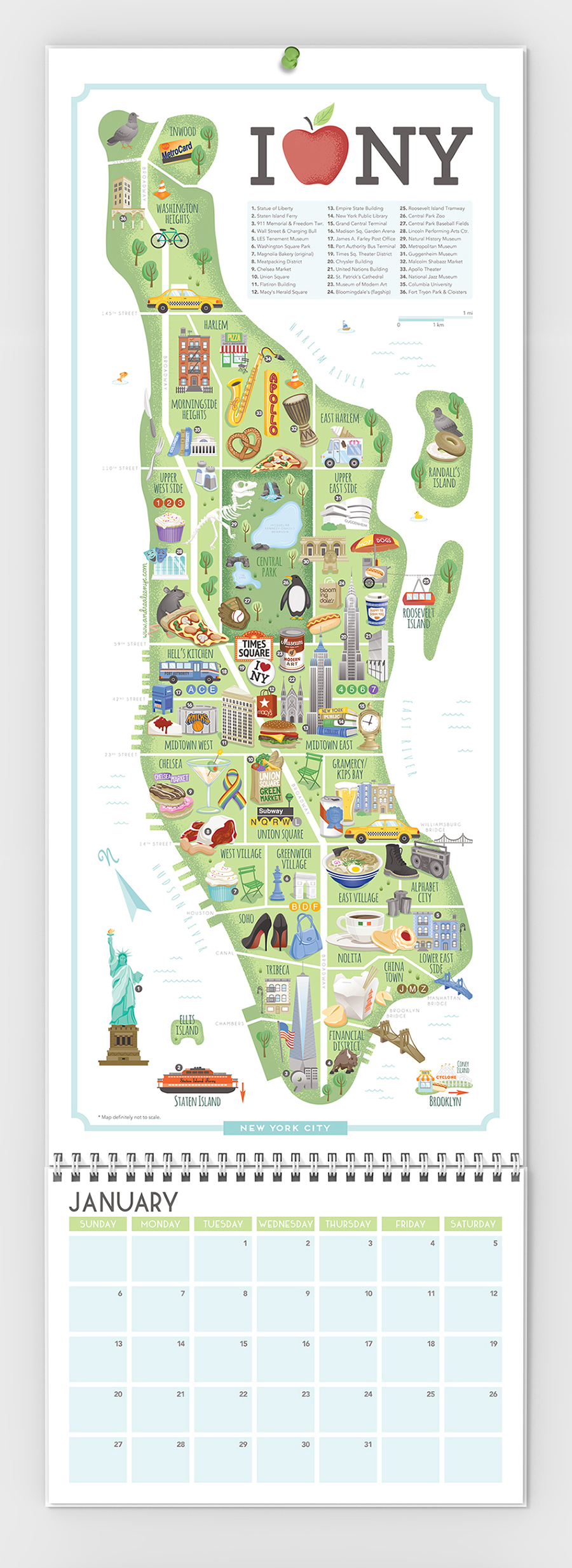 NYC illustrated map calendar
