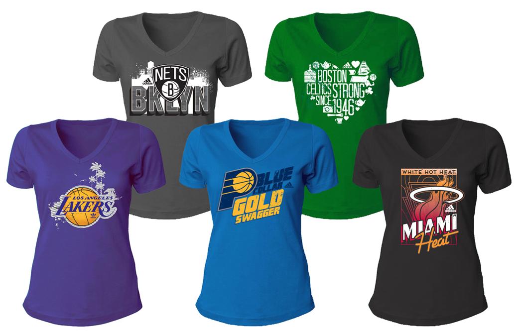 NBA women's fan tees for Adidas