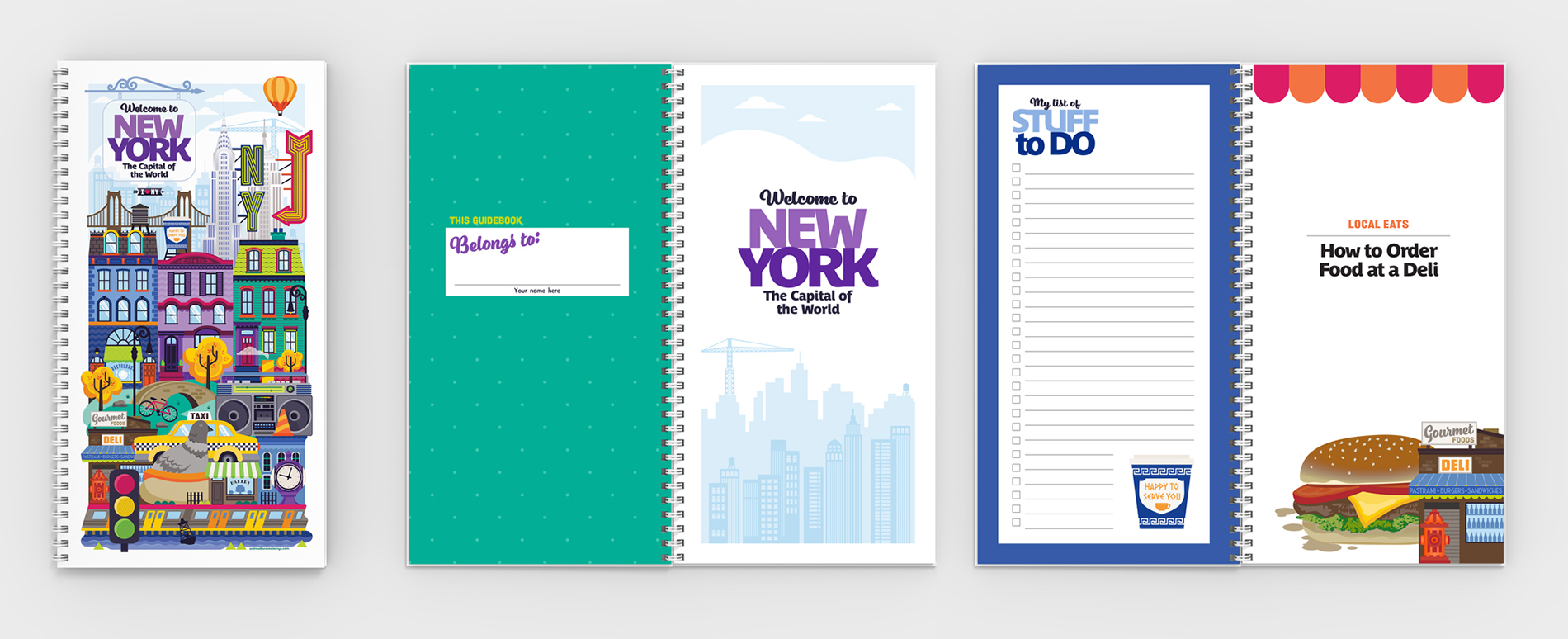 NYC illustrated guidebook spreads