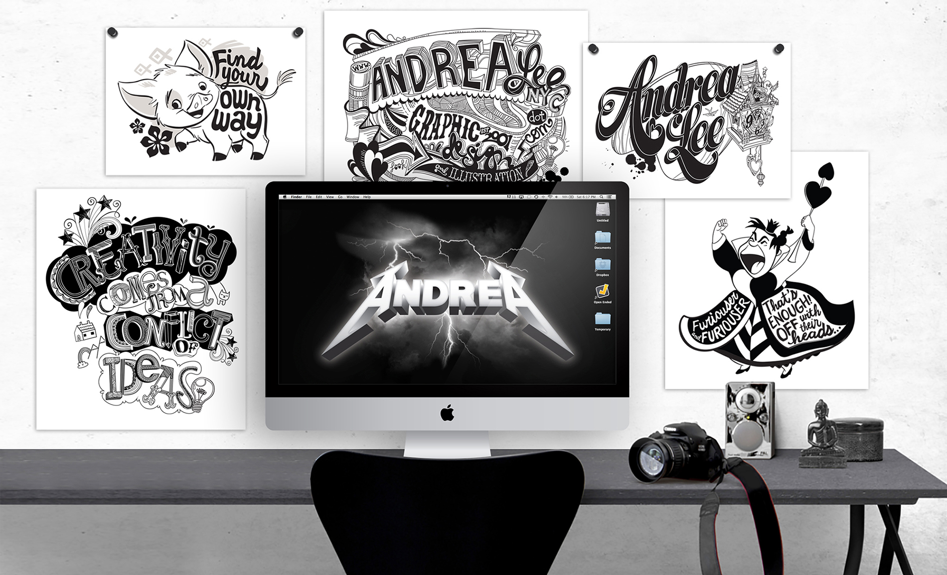 Various graphics and hand-drawn type