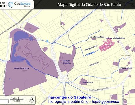 Imagem de mapa digital da Cidade de São Paulo, das nascentes do Sapateiros - retirado do site GeoSampa-hidrografia e patrimônio.