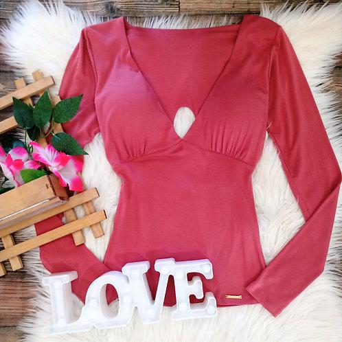 Blusa Decote V com Bojo Rosa
