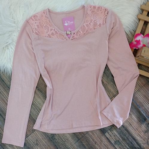 Blusa básica com renda rose P