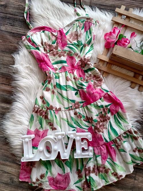 Vestido  linho Floral M