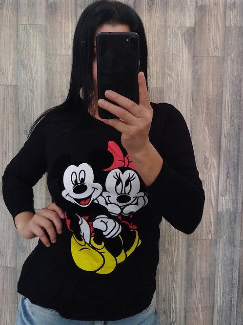 Blusa Manga Longa Preta Minie/Mickey