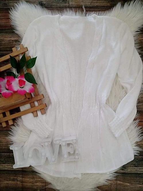 Cardigan Tricô Branco
