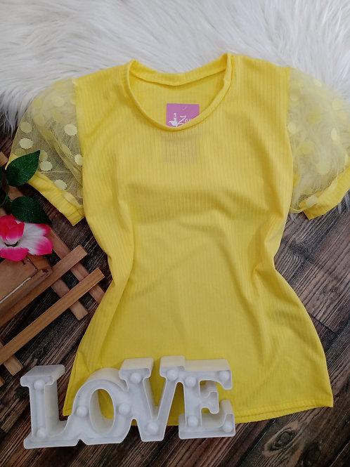 Blusa Canelada Tule Amarela