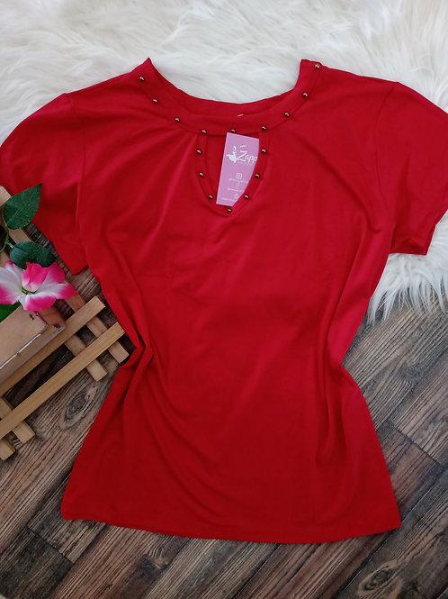 Blusa vermelha com pedraria G/GG