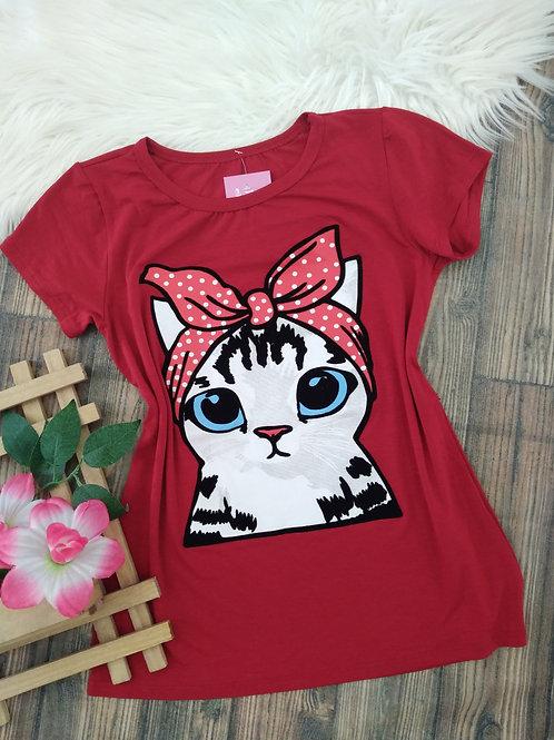 T-shirts Vermelha gatinho P/M