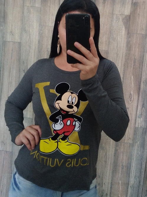 Blusa Louis Vuitton Mickey Cinza