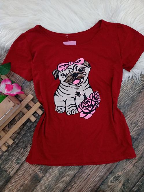 T-shirt Pug Vermelha