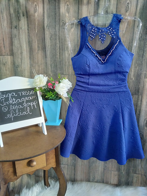 Vestido Azul C/ Tule e Pérolas