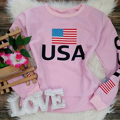 Blusa Moleton USA Rosê