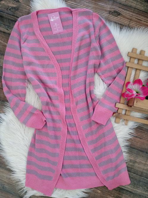 Cardigan listrado rosa com cinza
