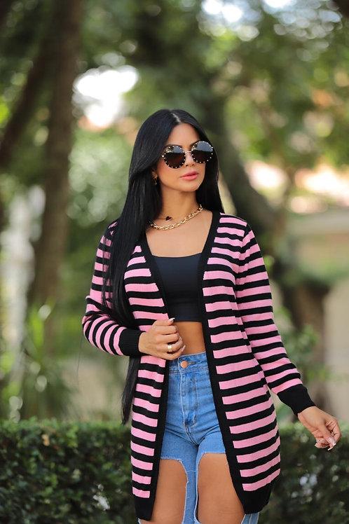Cardigan listrado rosa com preto