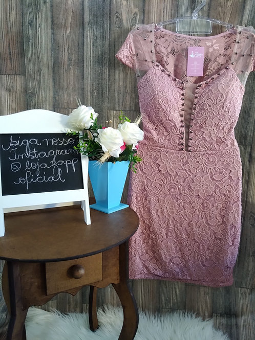 Vestido Renda C/ Rebites Rosê