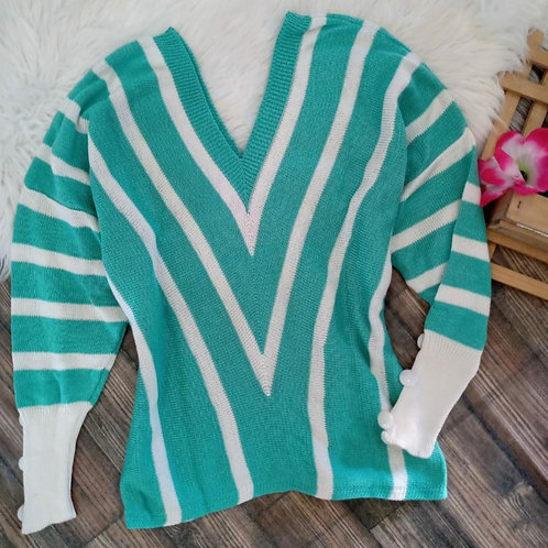 Blusa tricô listrada P/M