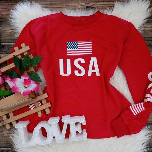 Blusa USA  Moletom Vermelha GG