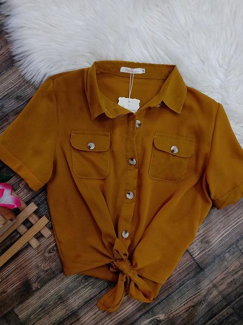 Camisa amarrar mostarda M