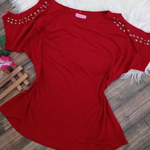 Blusa vermelha em malha GG