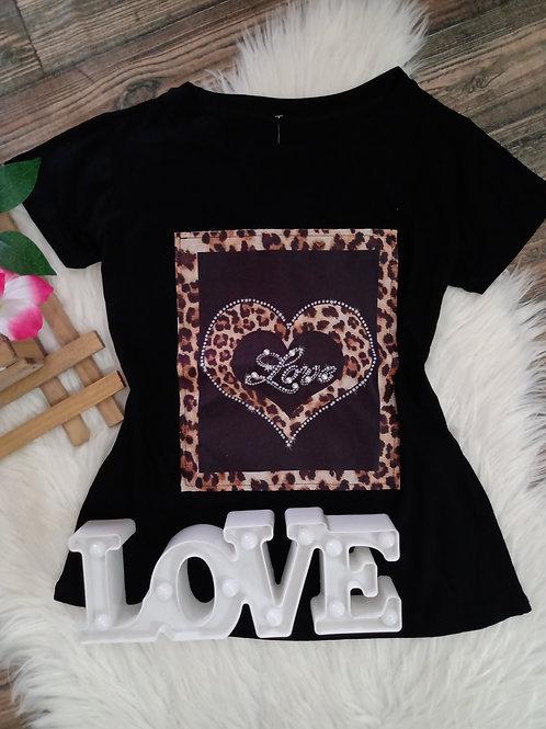 T-shirt Preta Love com Pérolas