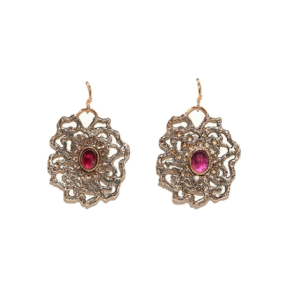 Free Form Earrings with Diamonds and Garnets