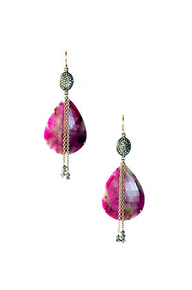 Fuchsia and Grey Sapphire Earrings with Pave' Diamond Beads