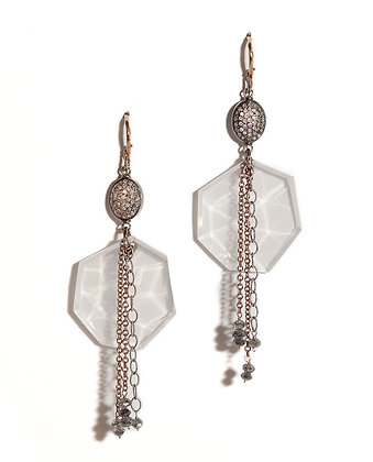 Milky Quartz Earrings with Pave' Diamond Beads
